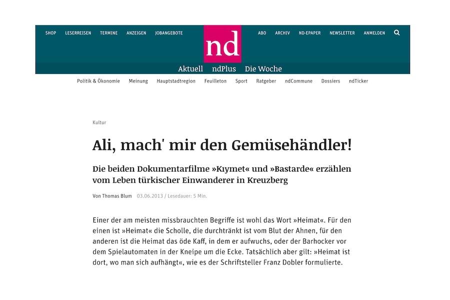 neues deutschland - Artikel